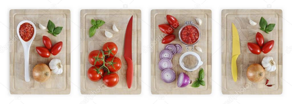 set of cutting boards with tomatoes, onions, garlic, basil and s