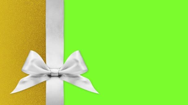 vidám karácsonyi ajándék kártya, szalag íjak változtatni színek elszigetelt zöld képernyő háttér sablon másolási hely