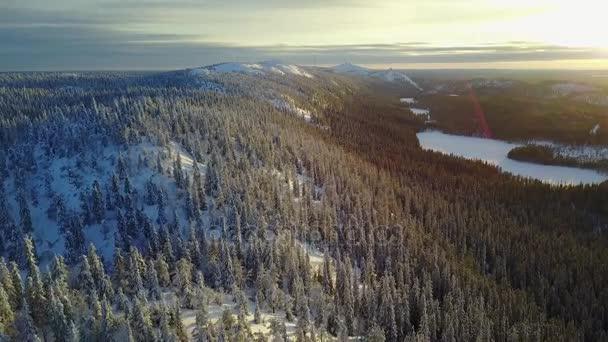 Letecký pohled na krásné zimní krajině Laponska. Valtavaara na sunset - národní Park Oulanka