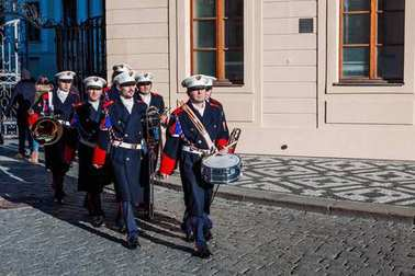 PRAGUE, CZECH REPUBLIC - DECEMBER 23, 2015: Guard of honor Music band in front of the presidential Palace in Prague, Czech Republic