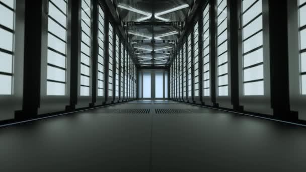 Die Kamera bewegt sich langsam entlang des schmalen Korridors im Rechenzentrum mit Serverausstattung auf beiden Seiten, die Lichter gehen allmählich aus, bis völlige Dunkelheit eintritt. 4k