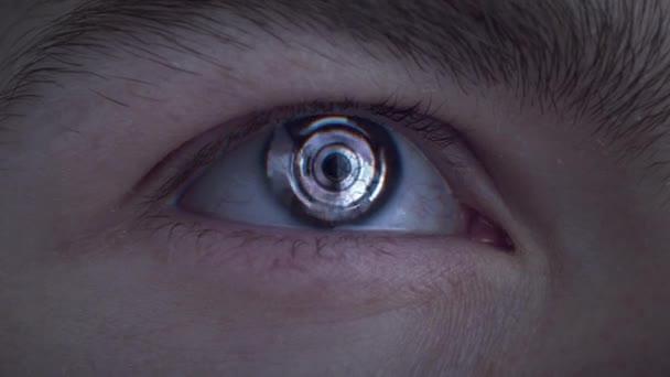 Human Eye Scan Technology Interface Animation lidské oko v extrémním makru. Spojení člověka a stroje. futuristické digitální rozhraní. Digitální skenování lidského oka. Futuristický digitální koncept lidského oka, 4k.