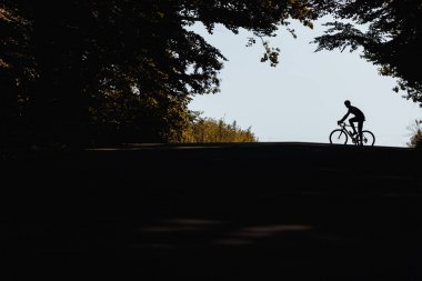 Silhouette of strong athlete in sport clothing and protective helmet practising in cycling on fresh air. Concept of healthy and active lifestyle.
