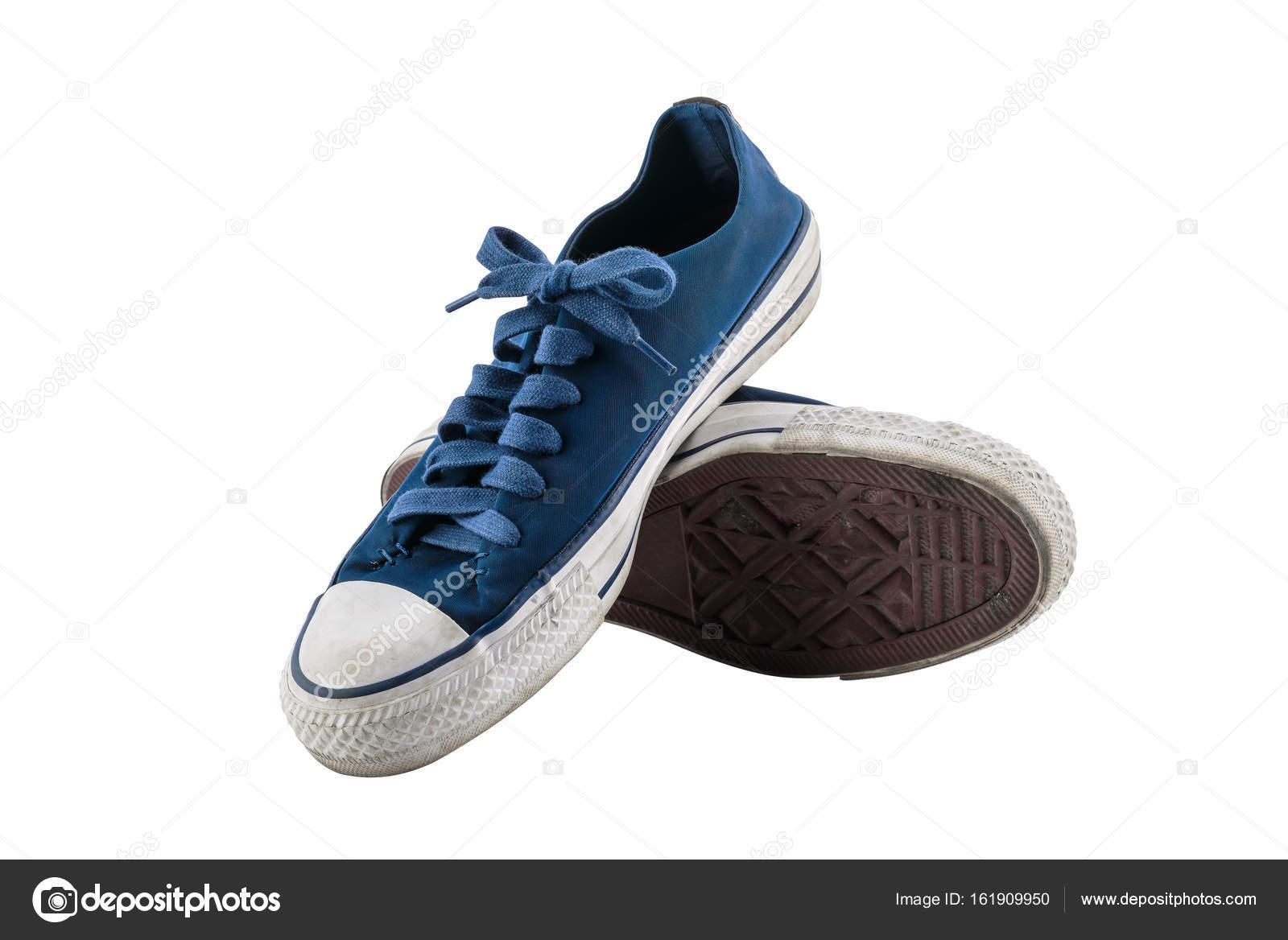 b42fed7f85b62 Blaue Leinenschuhe isoliert auf weißem Hintergrund — Stockfoto ...