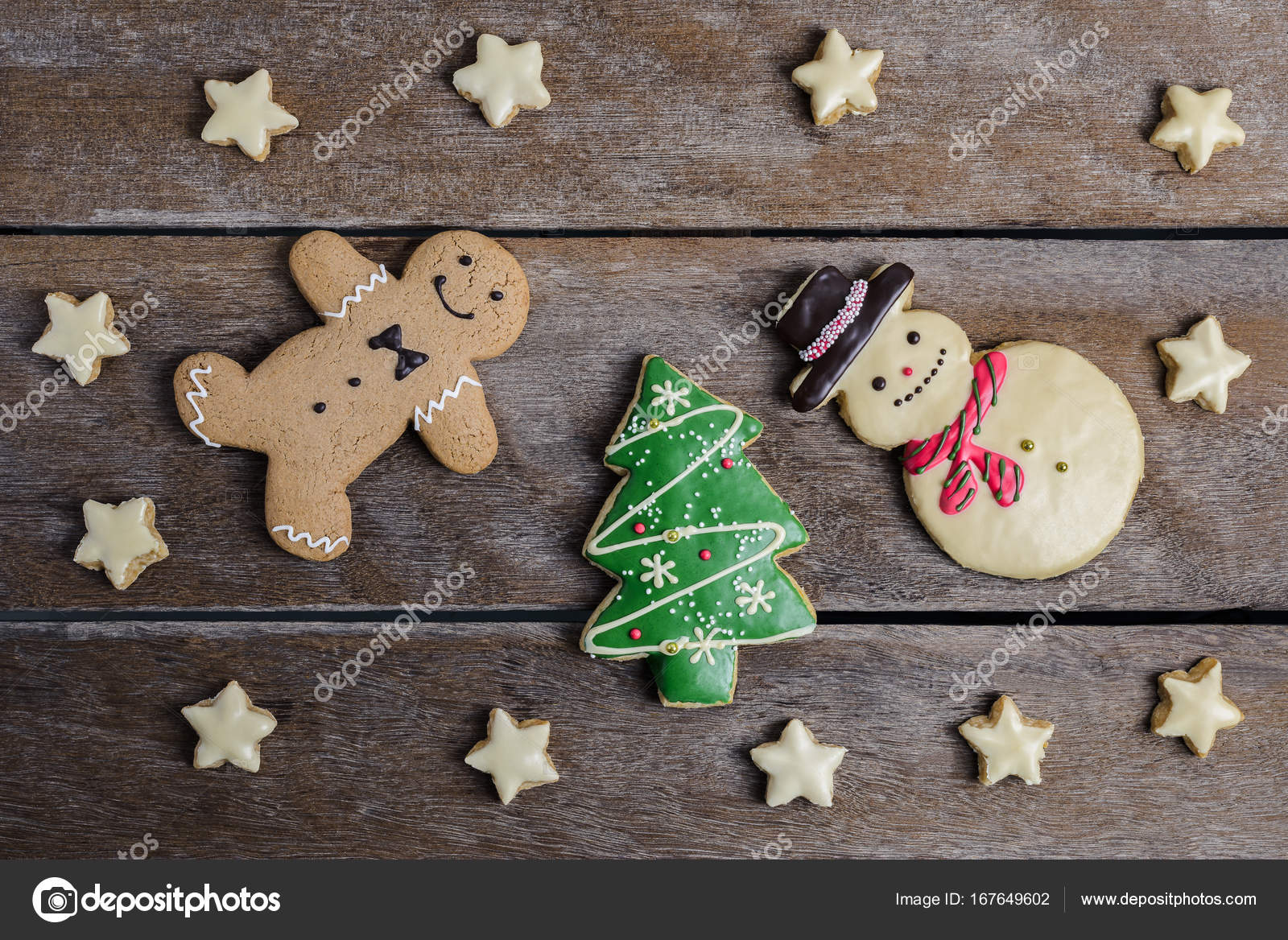 Festive Christmas Cookie And New Year In The Shape Of Christmas