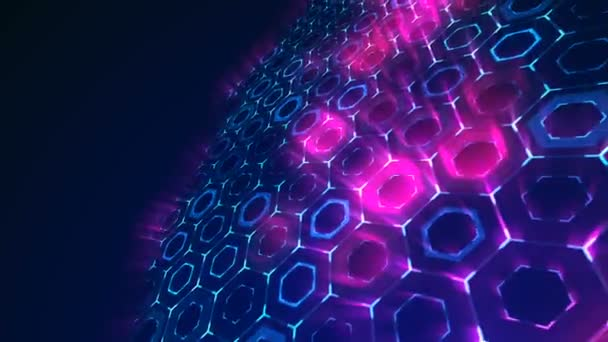 Dunkelblau und violett Sechseck-Muster. Moderne Render glatte Animation Abstract Background mit Animation der Welle Mosaik aus Sechsecken. Technologische, Technik-Hintergrund