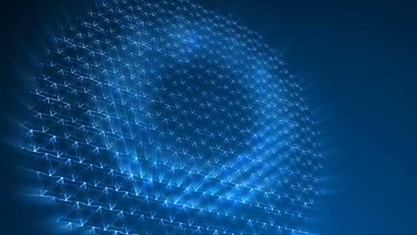 Tmavě modré trojúhelníky vzor. Moderní vykreslení hladké animace pozadí abstraktní s animací vlna mozaika trojúhelníků. Technologické, technické zázemí