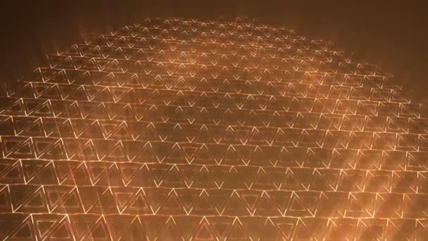 Tmavě oranžová trojúhelníky vzor. Moderní vykreslení hladké animace pozadí abstraktní s animací vlna mozaika trojúhelníků. Technologické, technické zázemí