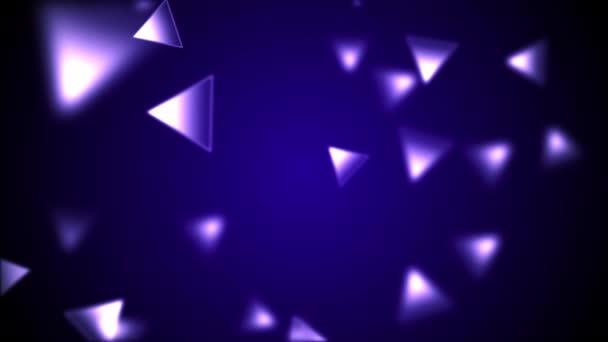 Abstraktní pozadí s animace zpomalené jemný fialový trojúhelníček bokeh světel. 4k