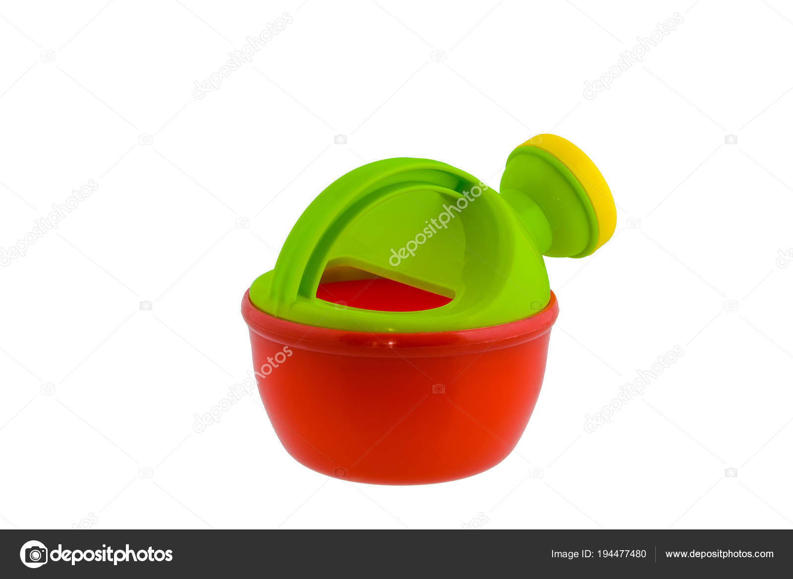 ec8220b9d8ac1e Children's beach toys, Green and Red watering can isolated on white  background with clipping path — Photo by sirastockid08