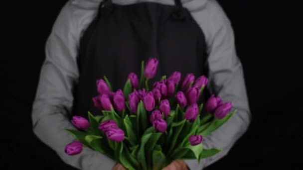 a man in a black shirt and gray apron give bouquet of flowers purple tulips, closeup black background.