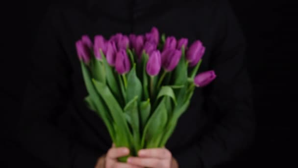 man in black shirt give bouquet of flowers purple tulips, closeup black background.