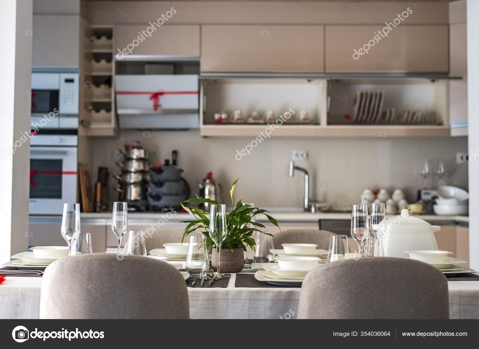 Modern Kitchen Table Set Apartment Stock Photo C Wirestock 354036064