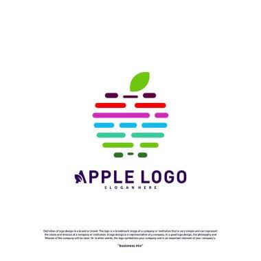 Colorful Apple logo design concept vector. Fruit Apple Creative Logo vector template. Icon symbol