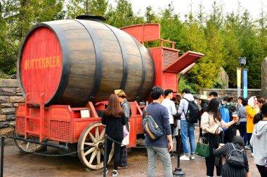 OSAKA, JP - APRIL 7 - Harry Potter theme Butterbeer barrel at Universal Studios Japan on April 7, 2017 in Osaka, Japan.