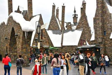 OSAKA, JP - APRIL 7 - Harry Potter theme with surrounding buildings at Universal Studios Japan on April 7, 2017 in Osaka, Japan.