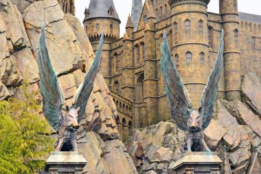 OSAKA, JP - APRIL 7 - Harry Potter theme hogwarts castle statue at Universal Studios Japan on April 7, 2017 in Osaka, Japan.
