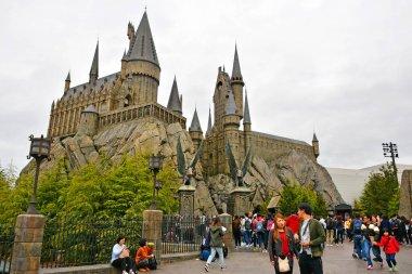 OSAKA, JP - APRIL 7 - Harry Potter theme hogwarts castle facade at Universal Studios Japan on April 7, 2017 in Osaka, Japan.