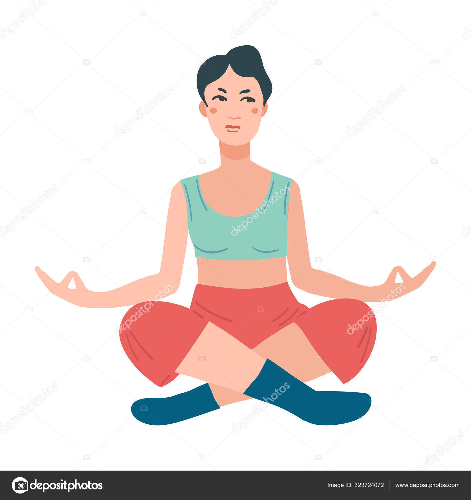 Young Pretty Woman Performing Yoga Exercise Female Cartoon Character Sitting In Lotus Posture And Meditating Vipassana Stock Vector C Katya Golovchyn 323724072