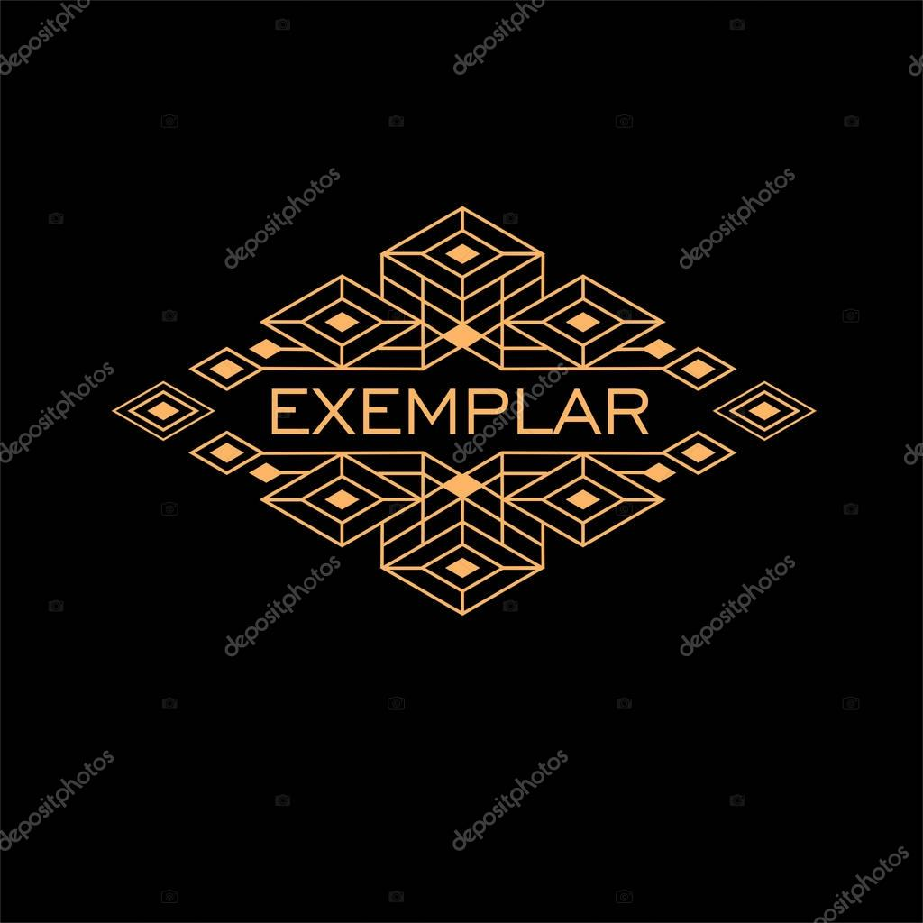 art deco logo template stock vector pgmart 129566588