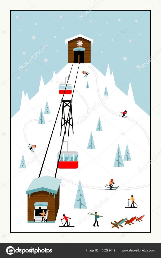 クールなパステル カラー漫画スキー ポスター ストックベクター