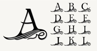 Calligraphic capital letters  set