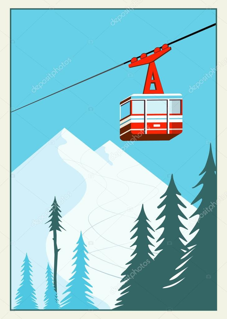 Vintage Winter cartoon background