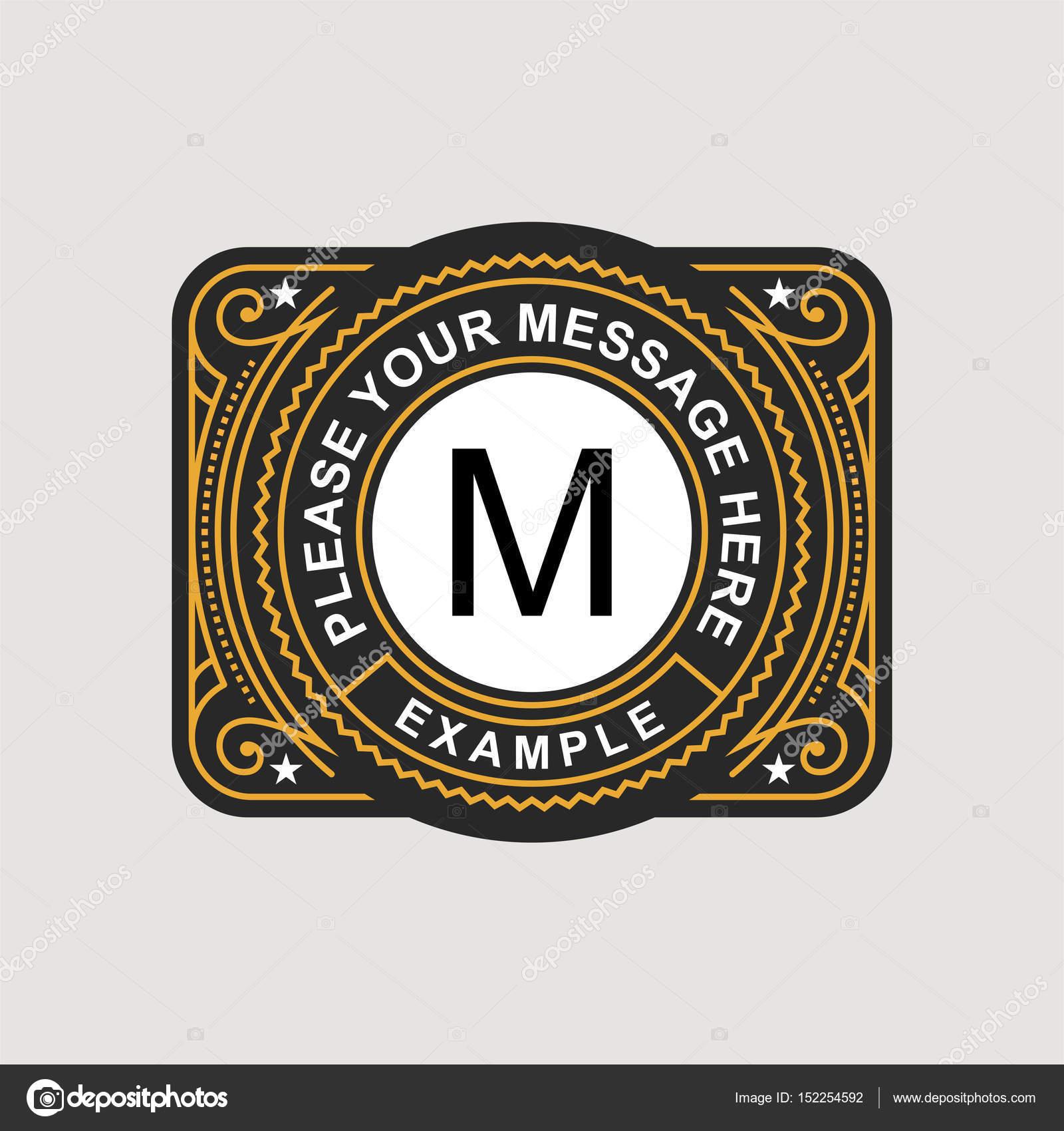 modern emblem badge monogram template stock vector pgmart