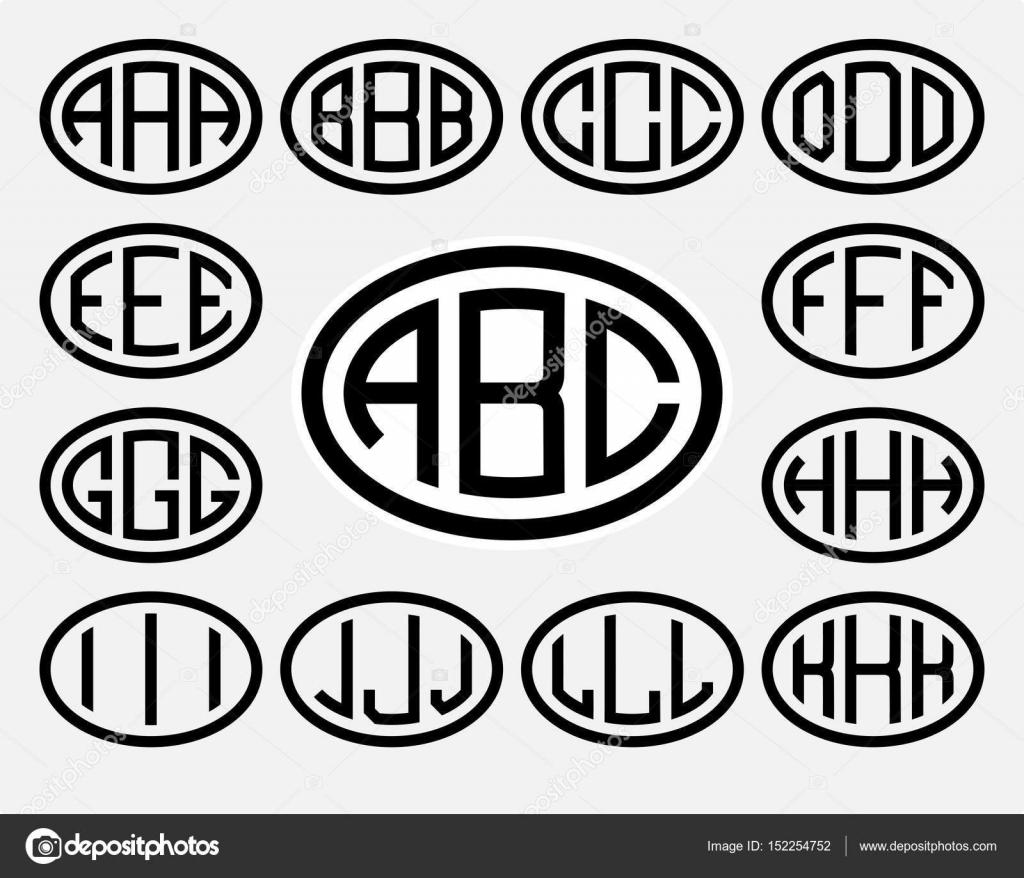 Letras en mayúscula inscritas en un óvalo — Archivo Imágenes ...