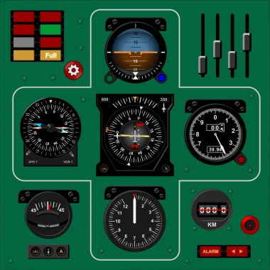 Airplane instrument panel.