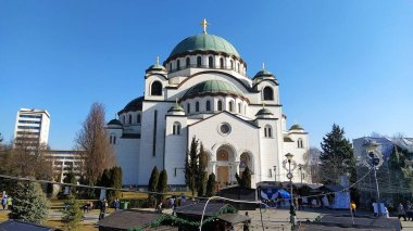 Belgrade, Serbia - March 14, 2020. The Cathedral of Saint Sava in Belgrade, Serbia