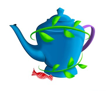 Blue Tea Pot surrounded with branches of leaves with a red candy on the side on white background