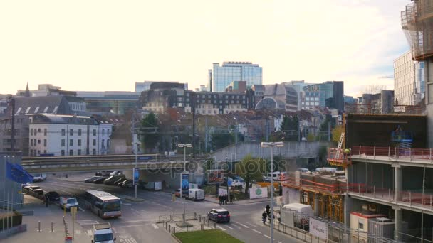 build new buildings in European quarter, Brussels. The european Parliament on background