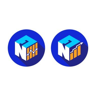 Cubic font N A with financial logo sign symbol, Vector isometric alphabet