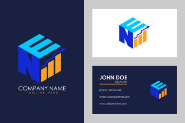 Cubic font N E with financial logo sign symbol, Vector isometric alphabet