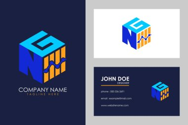 Cubic font N G with financial logo sign symbol, Vector isometric alphabet