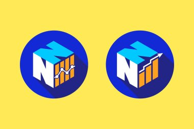 Cubic font N N with financial logo sign symbol, Vector isometric alphabet