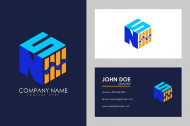 Cubic font N S with financial logo sign symbol, Vector isometric alphabet