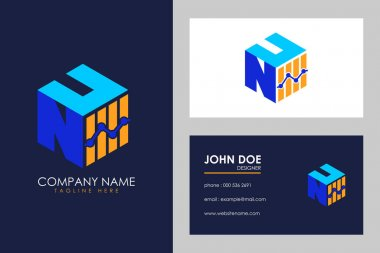 Cubic font N U with financial logo sign symbol, Vector isometric alphabet