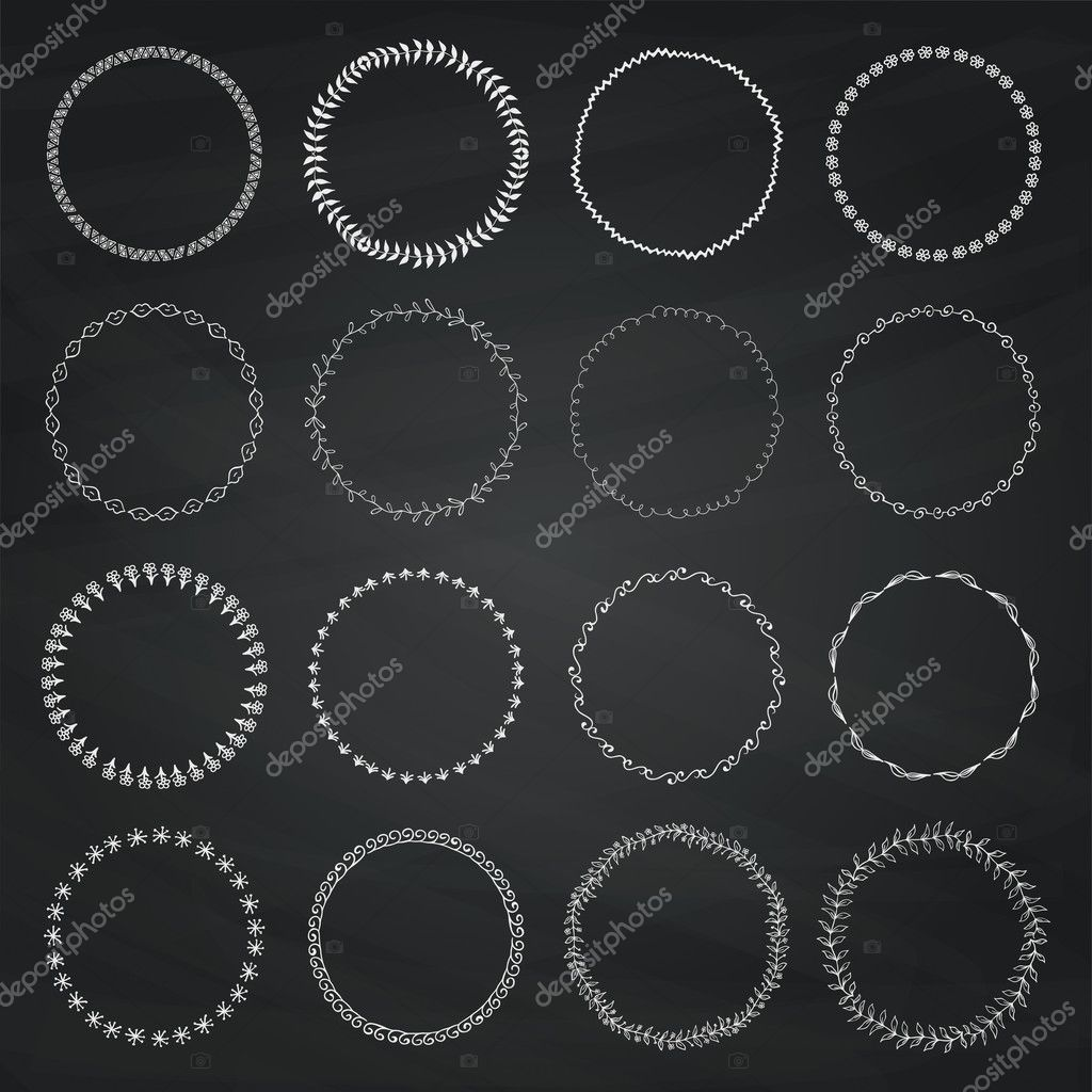 Set Of Chalk Drawing Doodle Circle Logo Badge Elements Borders Frames Rustic Decorative Design On Chalkboard Texture
