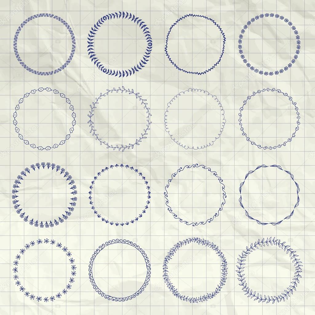 Vector Hand Drawn Circle Logo And Badge Elements Set Stock