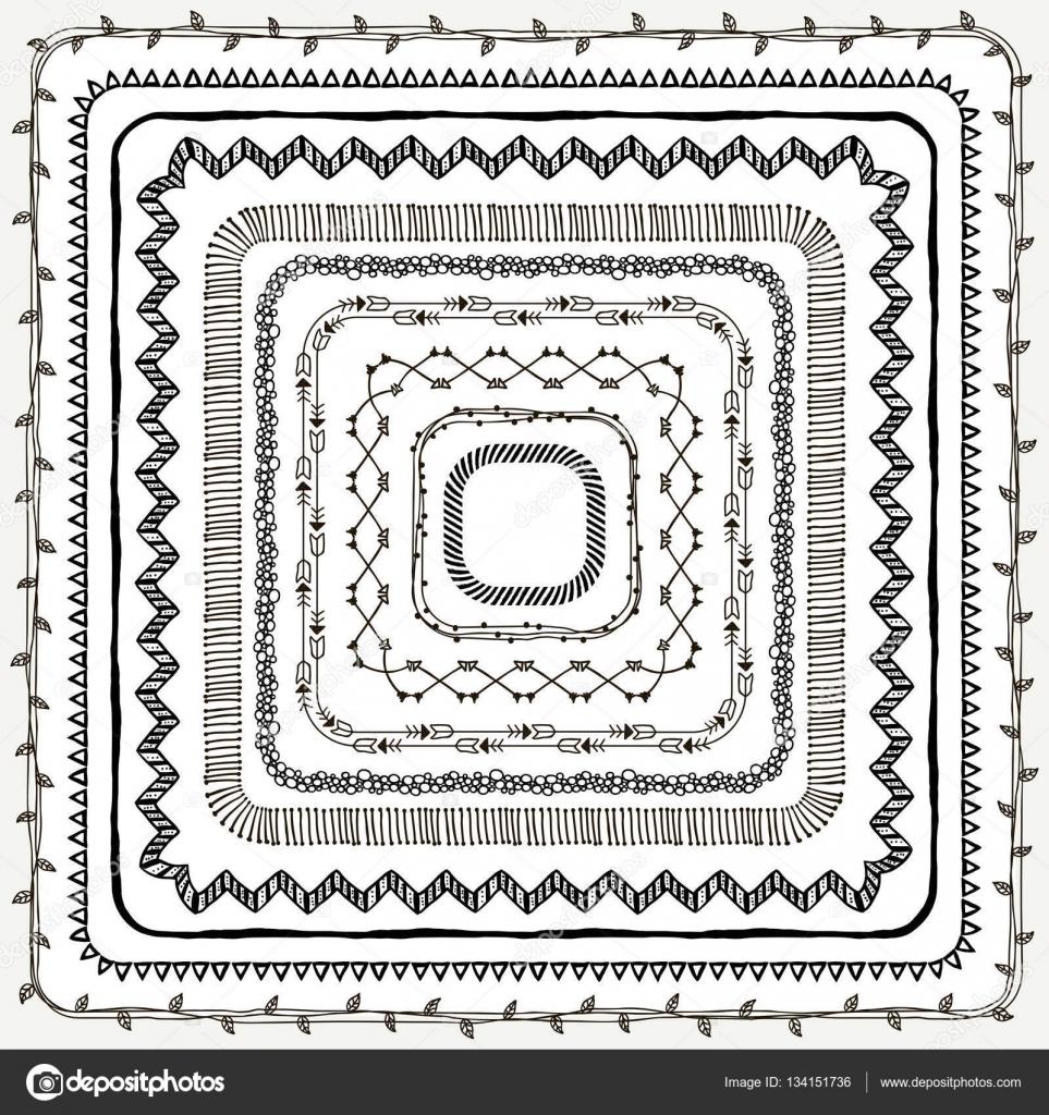 Vector Black Hand gezeichnet Doodle Rahmen und Grenzen — Stockvektor ...