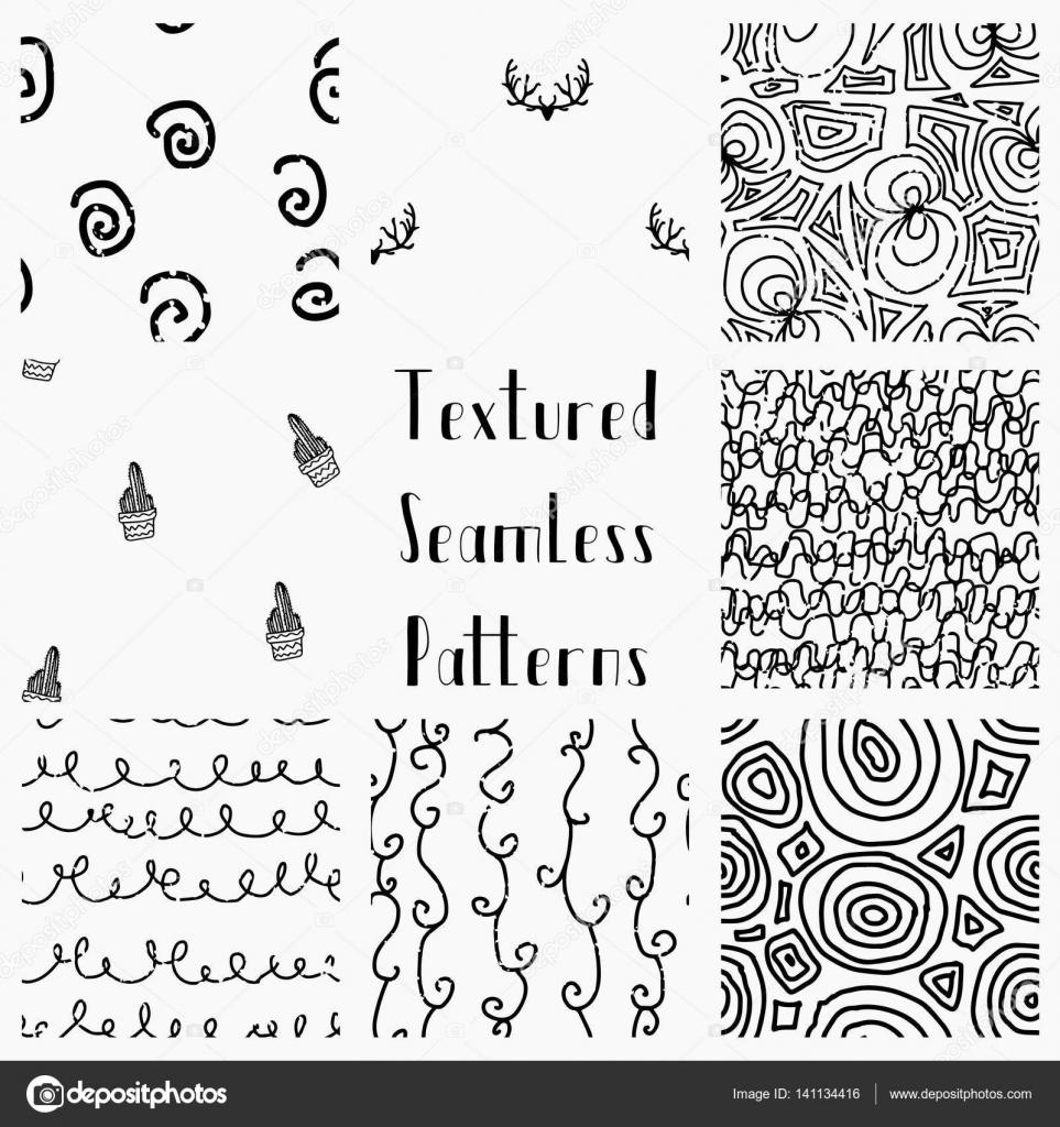 Dibujado a mano abstracta Grunge textura sin costura patrones ...
