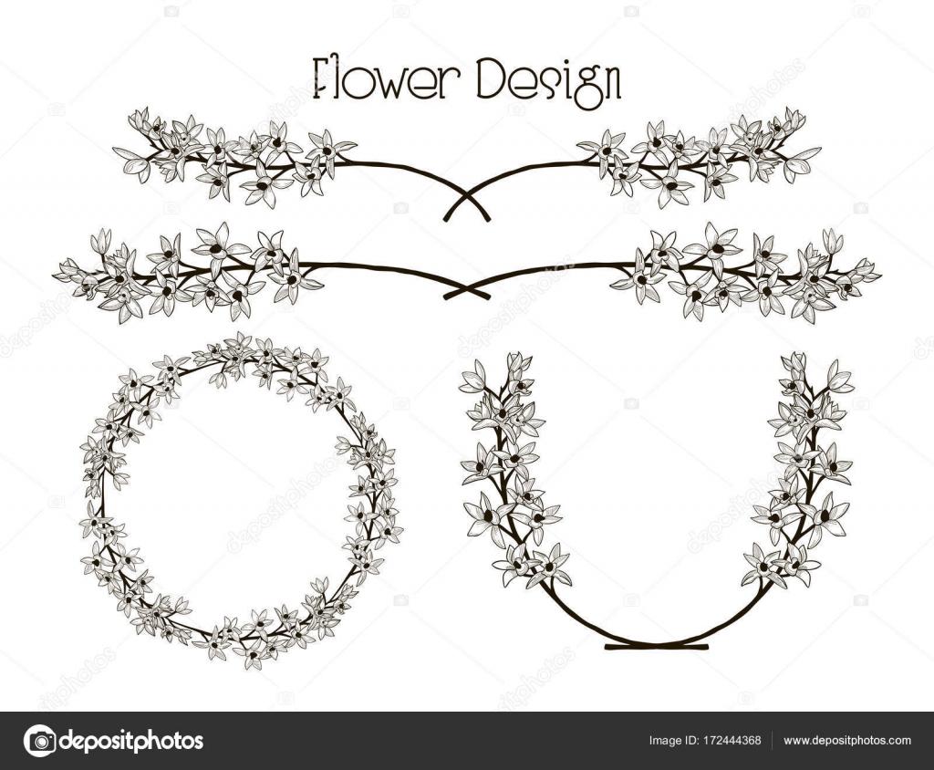 Diseño de la flor de vector. Divisor, marco de texto y guirnalda ...