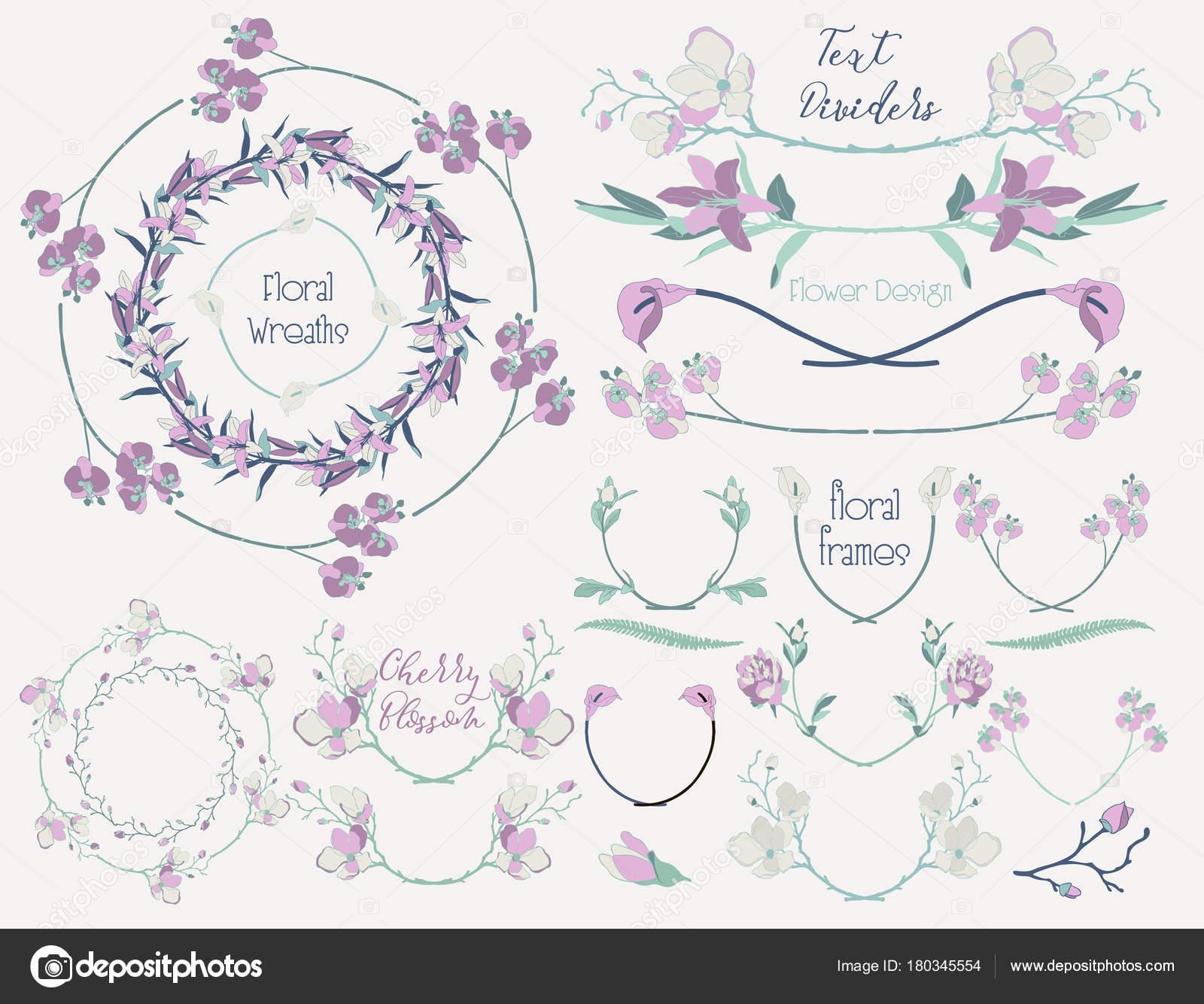 Bunten floralen Design Elemente, Trennwände, Frames — Stockvektor ...