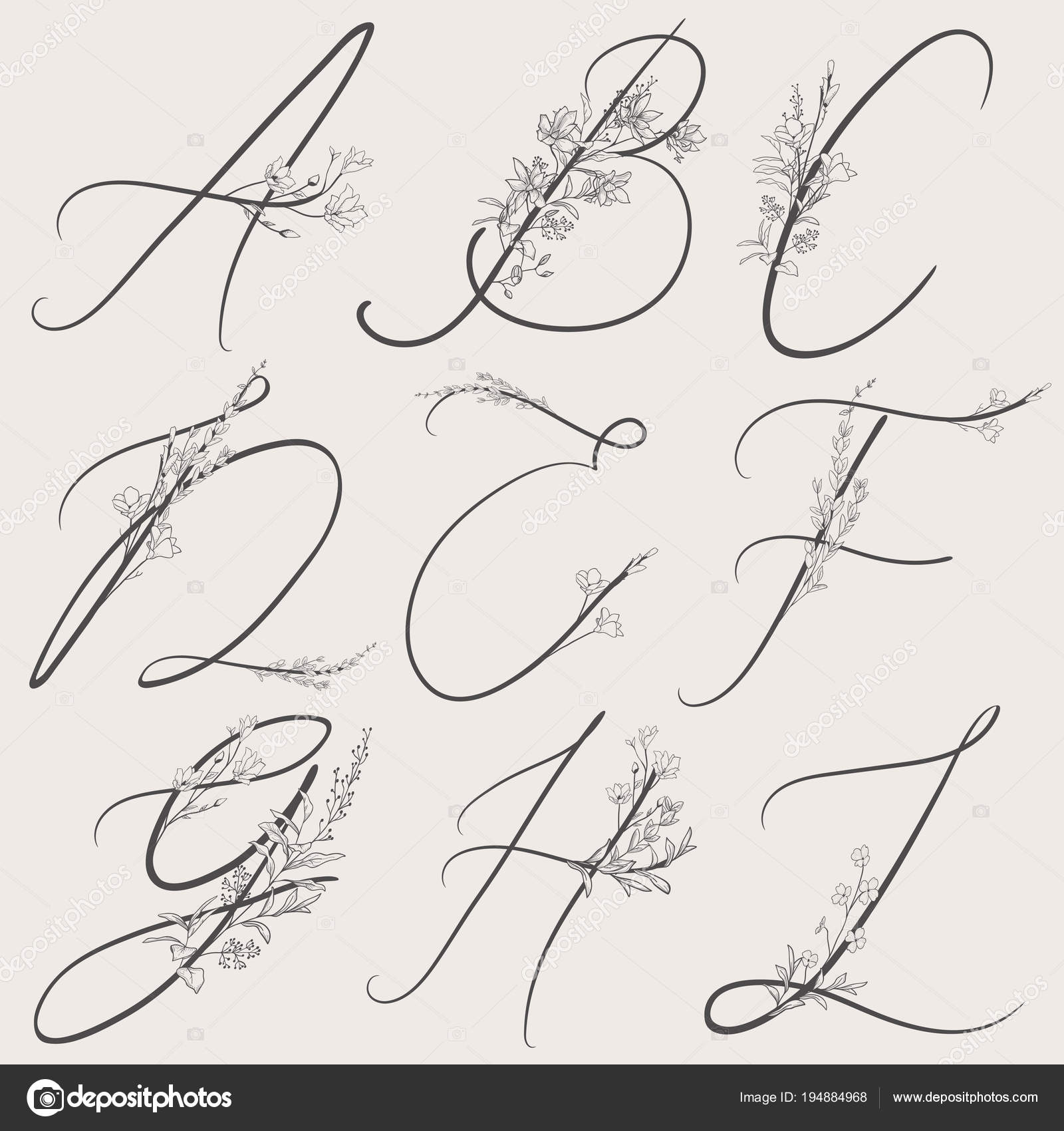 Uppercase Letters With Flowers And Branches Handwritten Monogram Letter A,