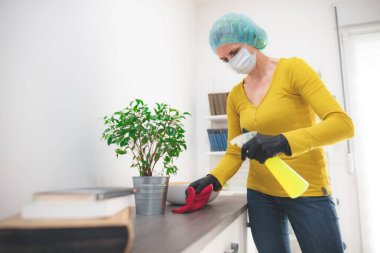 Home and room sterilization with disinfectant product in the time of dangerous viruses.