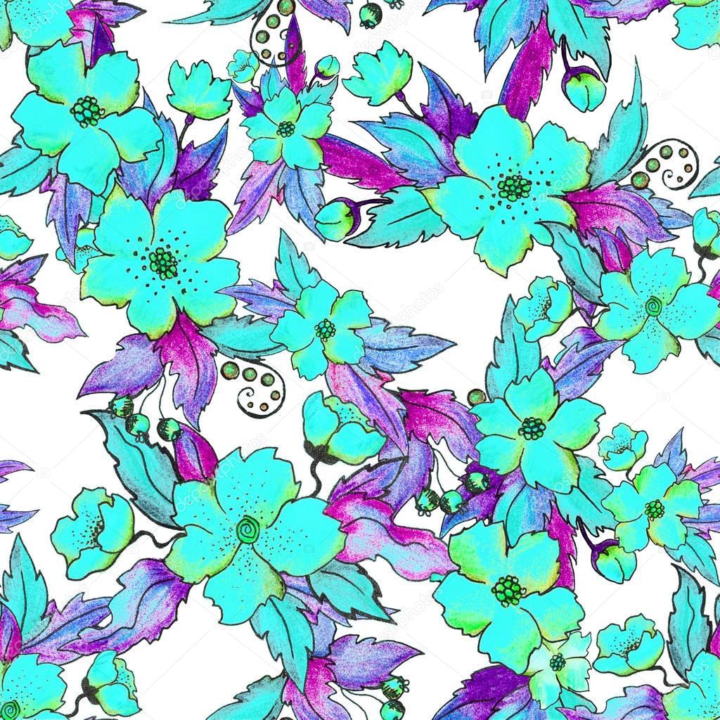Hibiskus Blumen nahtlose Muster — Stockfoto © savitskiy.lev #129561892