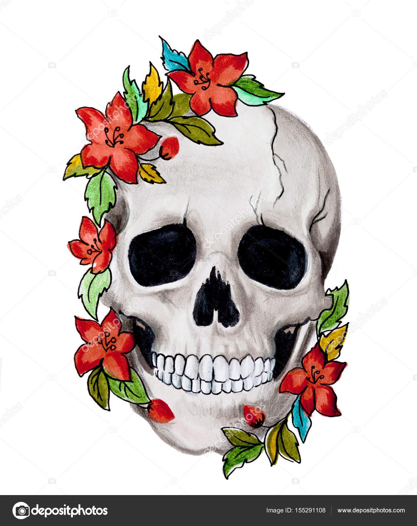 Cráneo Con Flores Fotos De Stock Savitskiylev 155291108