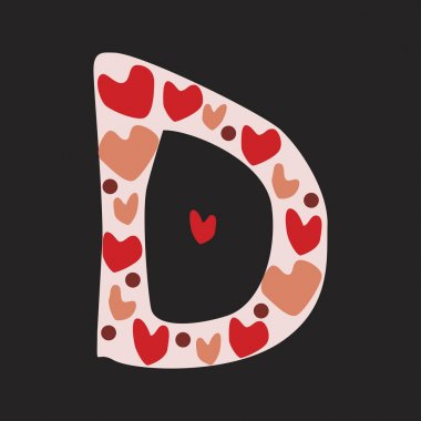 A letter D with red and pink doodle hearts isolated on black bac